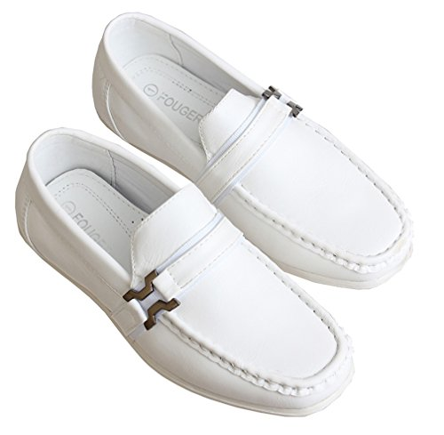 Toddlers White Loafers Buckle Accent