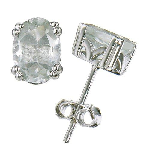 Silver Green Amethyst Stud Earrings (1 cttw ; 7x5 MM Oval Shape)