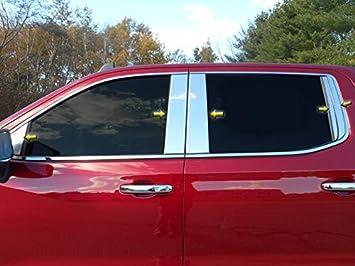 WP59171 12 Pc: Stainless Steel Window Trim Package Upper Window Trim /& Window Sills, NO Pillar Posts 4-Door Silverado 1500 2019 Chevrolet QAA FITS New Model!!