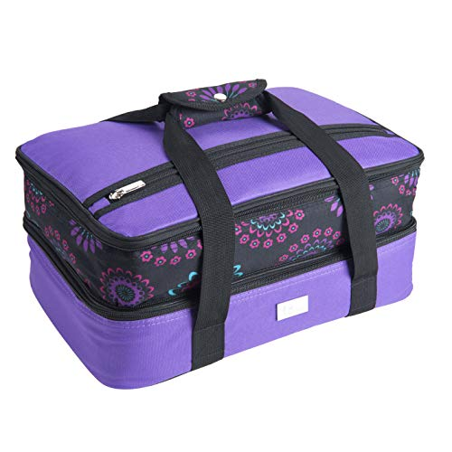Pursetti Casserole Carrier - Expandable Insulated Bag Perfect as Lasagna & Pie Carrier for Potluck, Family and Holiday Parties (Purple w/Purple Circle Accent)