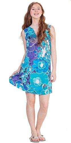 Peppermint Bay Sleeveless A-line Shift Dress in Water Whisper (Medium (6-8), Aqua/White/Purple)