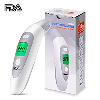 SinoPie Forehead Thermometer Non-Contact, Medical Ear Thermometer, Digital Infrared Thermometer for Kids, Infant, Baby and Adults -Upgraded Fever Scan Lens Technology for Better Accuracy, 2018 New