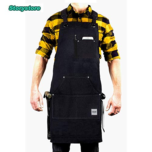 Work Apron For Men & Women - Heavy Duty waterproof Canvas - Multiple Tools Pockets - Adjustable Unisex Sizing - For Woodworking, Painting, Crafting, Cooking & Bartenders (black) by Storystore