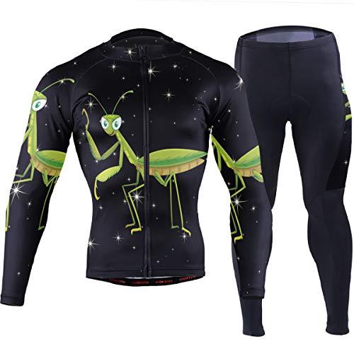 Anyangquji Mantis Mens Long Sleeve Mountain Bike Road Bicycle Shirt Padded Pants