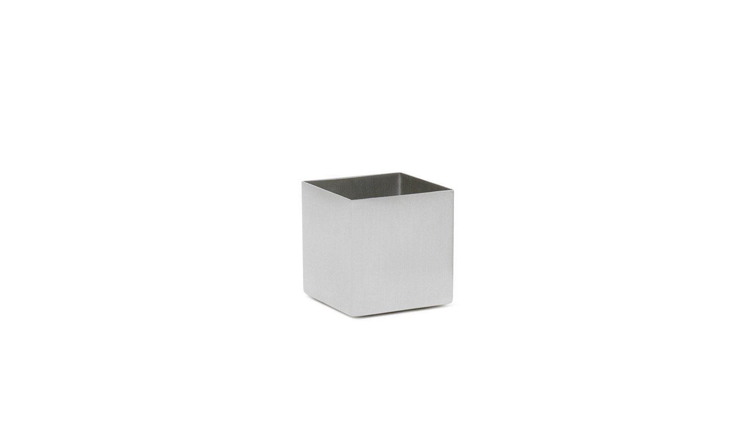 Front of the House ASC017BSS22 Canvas Square Ramekin, Brushed, 2'' Height, 2'' width, 2'' Length, 4 oz., Stainless Steel, White (Pack of 6)