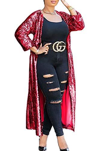 Outwear Chaqueta Mujer Rebeca Longitud Rojo Lentejuelas De De yulinge Abierto Delantera wgaAPEqg
