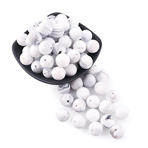 baby love home 50pcs 12mm Silicone Beads Marble Round Teething Beads DIY Jewelry Accessories Kit Food Grade Silicone