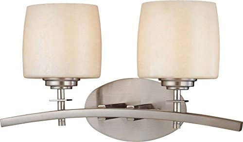 Minka Lavery Wall Light Fixtures 6182-84 Raiden Reversible Glass Bath Vanity Lighting, 2 Light, 200 Watts, Nickel