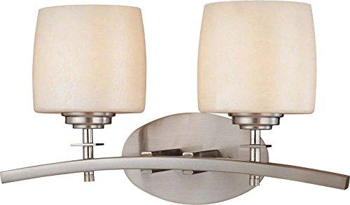 - Minka Lavery Wall Light Fixtures 6182-84 Raiden Reversible Glass Bath Vanity Lighting, 2 Light, 200 Watts, Nickel