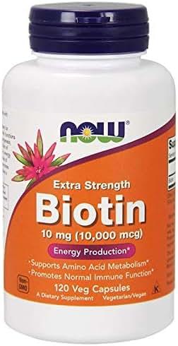 Biotin Extra Strength Skin Hair Nails Health Vitamin B7 10 mg 10000 mcg 120 Veg Capsules