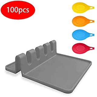 Silicone Utensil Rest with Drip Pad for Multiple Utensils Spoon Rest BPA-Free Flexible Almond-Shaped Silicone Spoon Holder For utensil rack for spoons,ladle,tongs and more cooking utensils