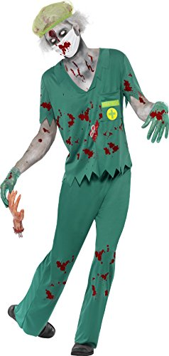 Smiffys Men's Zombie Paramedic Costume with Top Trousers Mask Hair Net and Gloves, Green, (Baby Paramedic Costume)