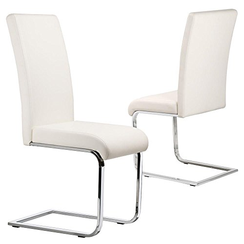 Popamazing Set Of 2 Stylish White Durable Faux Leather Dining Chair With Chrome Legs And High Back Kitchen Room Furniture Amazoncouk