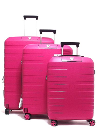 Roncato set tre trolley viaggio, Box 5510-19 trolley cabina+trolley medio+trolley grande rigidi in polipropilene, colore ciliegia