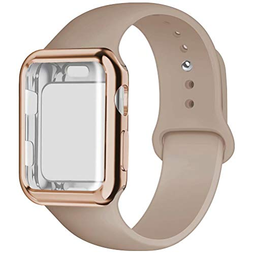 YC YANCH Compatible for Apple Watch Band with Screen Protector 38mm, Silicone Sport Strap Replacement Wristband with Apple Watch Case Compatible with iWatch Apple Watch Series 1/2/3,S/M Walnut
