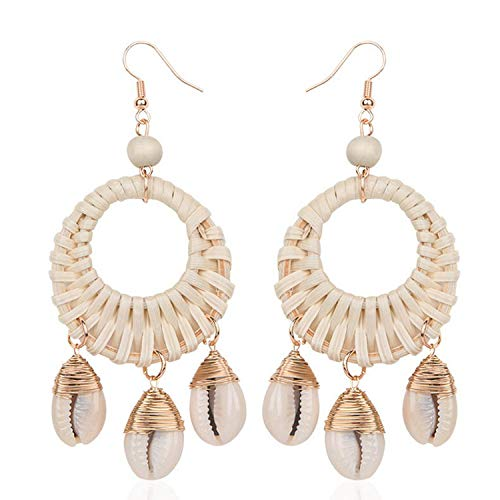 (Summer Straw Wood Rattan Weave Round Shell Cowry Chandelier Earrings Natural Shell Wood Beach Earrings Jewelry,E5182 White)