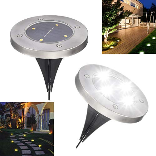 Solar Ground Lights Outdoor Ground Lights 4led Pathway Garden Landscape Lighting For Yard Deck Lawn Patio Walkway 2 Pack White