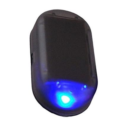 Alarma ficticia simulada solar del coche Advertencia luz de seguridad destelleante del Anti-Ladrón LED (Color azul)