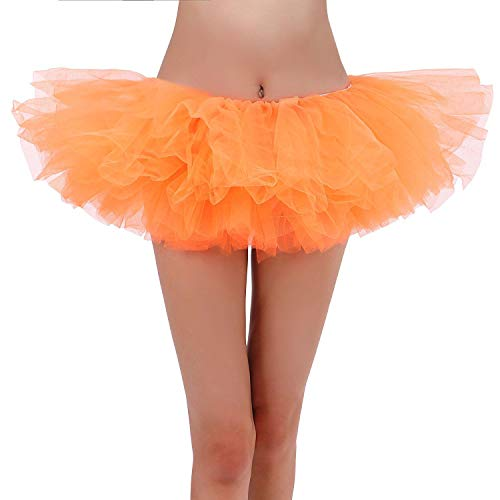 Women Tutu 5 Layers Tulle Tutu Costume Dance Ballerina Skirt,Orange Tutu -