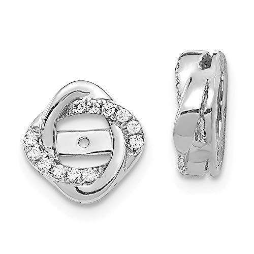 14K White Gold Diamond Love Knot Love Knot Earring Jackets 4.00 mm Opening for Stud Earrings (0.12Cttw)