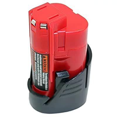 JahyShow Replacement for Milwaukee M12 Cordless 12 Volt Red Lithium Ion Battery For Milwaukee 48-11-2411 12v 1.5Ah Power Tool Battery pack(1500mAh Battery For Milwaukee)