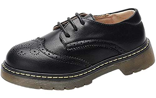 PPXID Boy's Girl's British Style Leather School Uniform Brogue Lace up Oxford Shoes