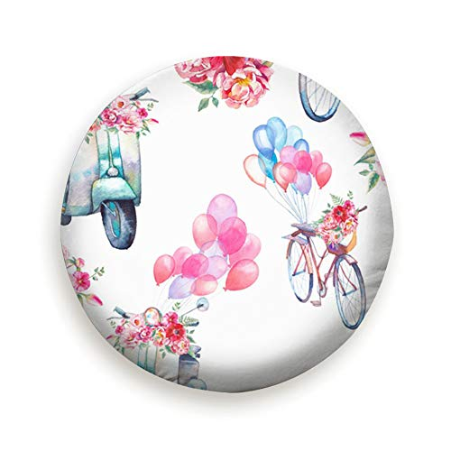 AndrewTop Watercolor Vintage Scooter Bicycle Tire Cover Polyester Universal Spare Wheel Tire Cover Wheel Covers for Trailer RV SUV Truck Camper Travel Trailer Accessories(14,15,16,17 Inch) 16 Inch