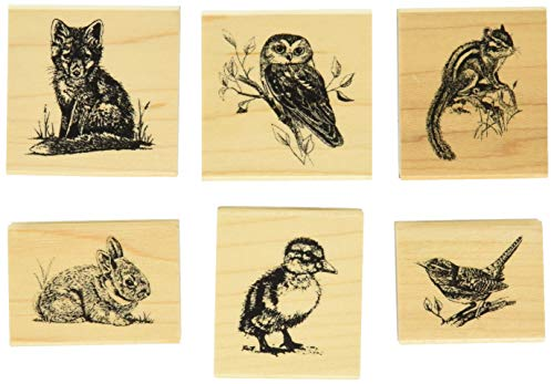 Inkadinkado Wildlife Friends Woodland Animals Mounted Rubber Stamp Set, 6 pc ()