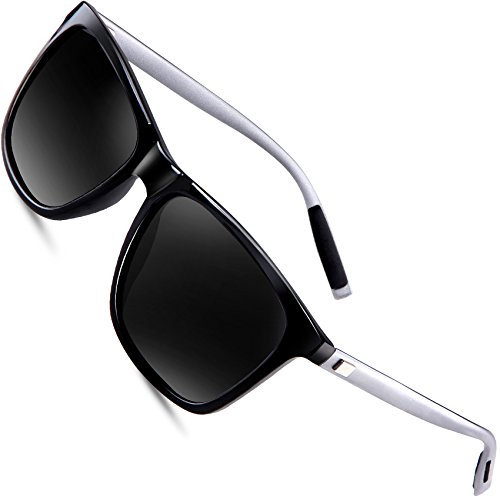 wearPro Wayfarer Sunglasses for Men Polarized Vintage Men`s Sun Glasses WP1003 (black, - Wayfarer Fashion