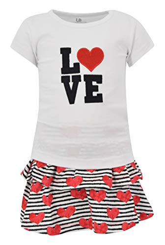 Unique Baby Girls Love Embroidery Valentine?s Day Outfit (2t) White