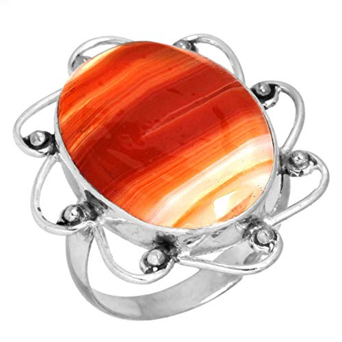 Solid 925 Sterling Silver Designer Jewelry Natural Botswana Agate Gemstone Ring Size 9