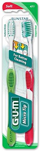 Sunstar 471VPF GUM Micro Tip 471VPF Toothbrush, Compact Soft Bristle, Value Pack Micro Tip Toothbrush Compact
