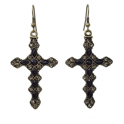 Colorful Cross Rhinestone Burnished Gold Tone Dangle Earrings - Assorted Colors (Black) - Cross Rhinestone Earrings