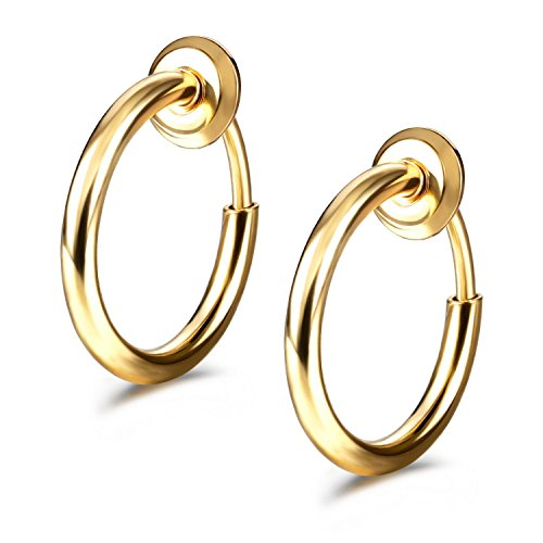 JewelrieShop Fake Nose Ring Septum Ring Clip on Hoop Earrings for Women Faux Lip Ring Spring Endless Hoop Earrings Non Piercing Lobes Men Girl (13mm, 02. Gold Color x 1 Pair)