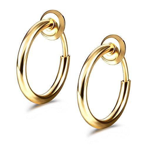 JewelrieShop Clip On Hoop Earrings Fake Earrings Non-Piercing Spring Hoop Earrings for Sensitive Ears Fake Cartilage Earrings (#02. Gold Color x 1 Pair) -