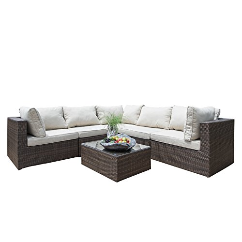 Supernova Outdoor Patio 6pc Sectional Furniture Wicker Rattan Sofa Set (6 Pcs Sofa Set) (Sofa Furniture Designer)