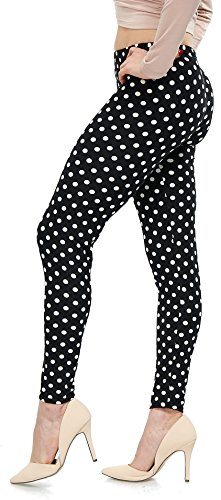LMB Lush Moda Extra Soft Leggings With Designs- Variety Of Prints - 721F Polka Dot B5 - Multi Polka Dot Print