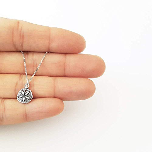 Sterling Silver Small Sand Dollar Charm Necklace 18