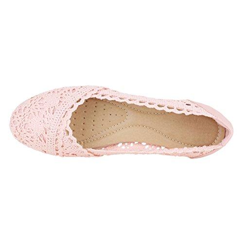 Donna Pizzo Di Basse Rosa Flandell® Stoffa Effetto Metallico Da Crochet Ballerine Con Scarpe 4anx4zXt