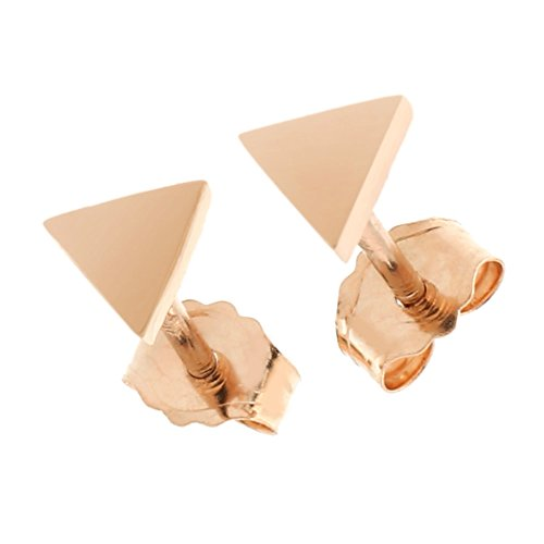 Solid Triangle Earrings - Automic Gold Solid 14k Rose Gold Triangle Earrings