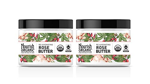 Nourish Organic Rejuvenating Rose Butter For Promote Skin Regeneration With Rosehip Seed Oil, Rose Clay and Fair Trade Certified Shea Butter, 5.2 fl. oz.(Pack of 2)