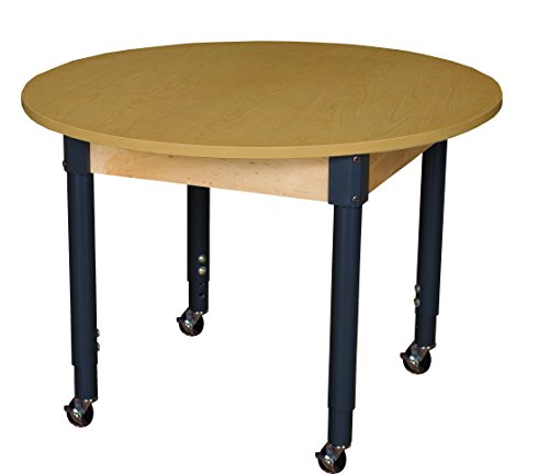 Round High Pressure Laminate - Wood Designs HPL42RNDA1829C6 Mobile Round High Pressure Laminate Table with Adjustable Legs 20-31