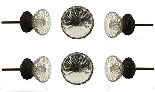 (Set of 6 Mirror Glass Fanfare Knob with Brass Base Plate by Trinca-Ferro)