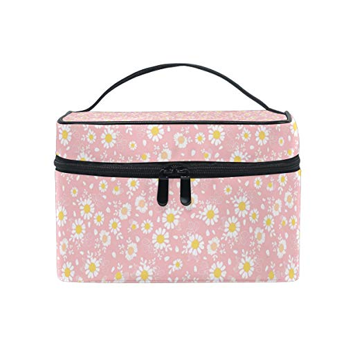 - Travel Makeup Cosmetic Bags Vintage Pink Daisies Art Toiletry Bags Makeup Suitcase For Women