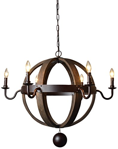 Moti Furniture Iron and Wood Open Work Globe Pendant by MOTI Furniture