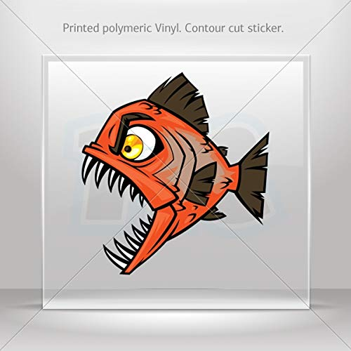 Fishes Various sizes Sticker Piranha Attack Decoration Waterproof Racing Vehicle Tablet at (10 X 9.22 Inches)