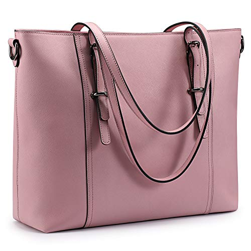 S-ZONE 15.6 inch Leather Laptop Tote Bag for Women Large Work Handbag Computer Shoulder Purse (Pink) (Pink Computer Bags For Laptops)