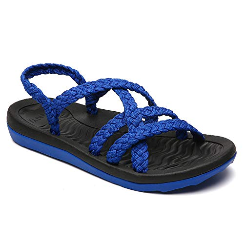Light Blue Rubber Strap - MEGNYA Women's Comfortable Flat Walking Sandals with Arch Support Waterproof for Walking/Hiking/Travel/Wedding/Water Spot/Beach. ZDKDME01-Blue-10-W7