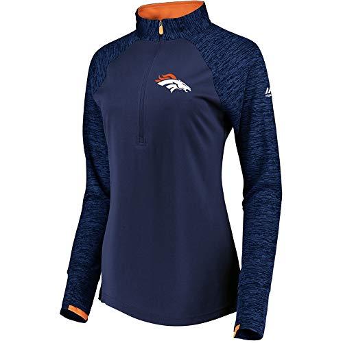 Denver Broncos Women's Majestic Ultra Streak 1/2 Zip Pullover Top - Navy X-Large