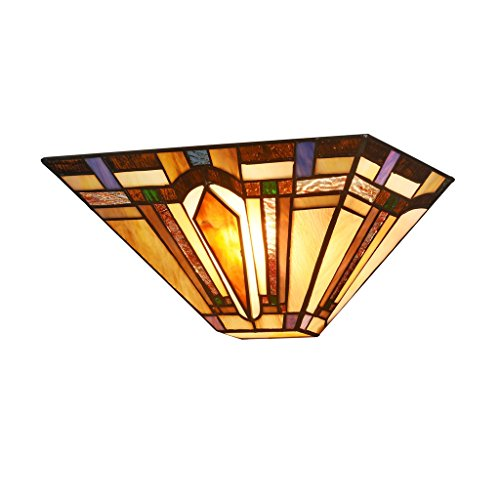 (DOCHEER Tiffany-Style Mission 1-Light Wall Sconce with 12.2-Inch Width Stained Glass Shade Wall Lamp, Multi-Colored)